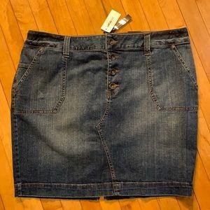 Lane Bryant Button Fly Denim Skirt